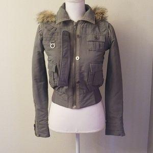 Jacket Puffy Sage Green Fur Hood Bomber
